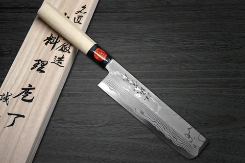 Shigeki Tanaka Aogami No.2 Damascus Japanese MB Chefs UsubaVegetable 180mm with Magnolia Wood Handle