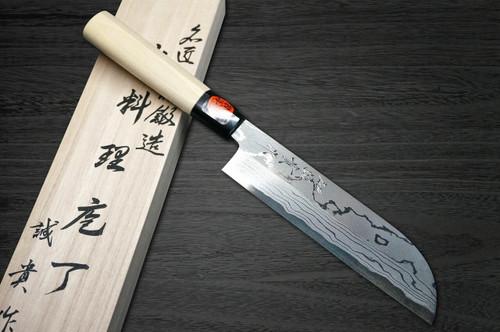 Shigeki Tanaka Aogami No.2 Damascus Japanese MB Chefs Kamagata-UsubaVegetable 180mm with Magnolia Wood Handle