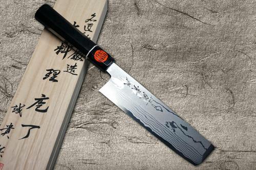 Shigeki Tanaka Aogami No.2 Damascus Japanese EB Chefs UsubaVegetable 210mm with Ebony Handle