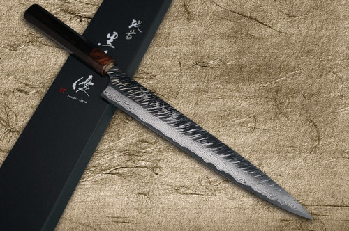 Yu Kurosaki VG10 Damascus FUJIN WA RS8H Japanese Chefs SlicerSujihiki 240mm with Brown-Ring Octagonal Handle
