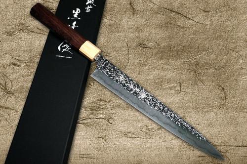 Yu Kurosaki R2SG2 Hammered SHIZUKU WA RS8P Japanese Chefs SlicerSujihiki 240mm with White-Ring Octagonal Handle