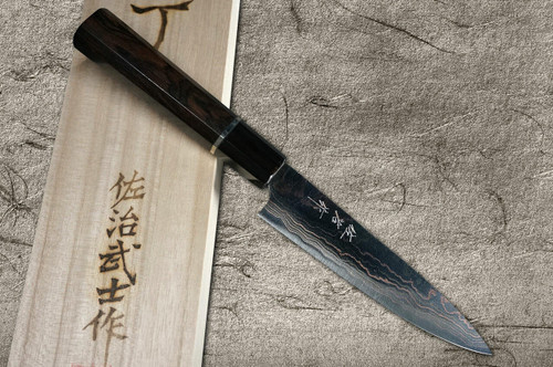 Takeshi Saji Aogami No.2 Colored Damascus EB Japanese Chefs Petty KnifeUtility 130mm with Silver-Ringed Ebony Handle