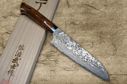 Takeshi Saji R2SG2 Black Damascus IR Japanese Chefs Santoku Knife 180mm with Desert Ironwood Handle