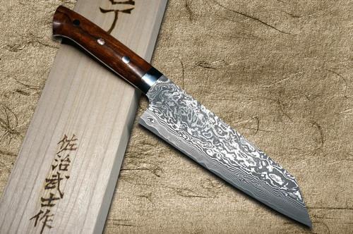 Takeshi Saji R2SG2 Black Damascus IR Japanese Chefs Bunka Knife 180mm with Desert Ironwood Handle