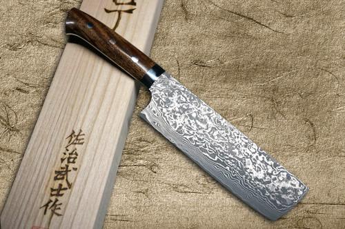 Takeshi Saji R2SG2 Black Damascus IR Japanese Chefs NakiriVegetable 170mm with Desert Ironwood Handle