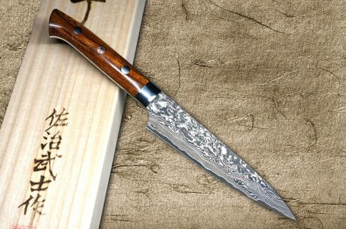 Takeshi Saji R2SG2 Black Damascus IR Japanese Chefs Petty KnifeUtility 130mm with Desert Ironwood Handle