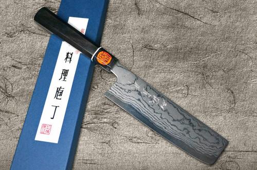 Shigeki Tanaka Aogami No.2 Damascus EB Japanese Chefs Vegetable Knife 165mm with Ebony Handle