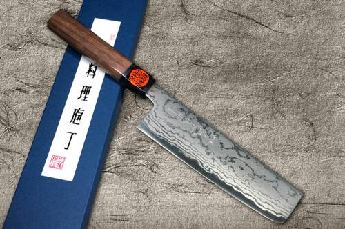 Shigeki Tanaka Aogami No.2 Damascus WN Japanese Chefs Vegetable Knife 165mm with Walnut Handle