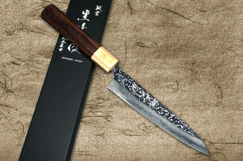 Yu Kurosaki R2SG2 Hammered SHIZUKU WA RS8P Japanese Chefs Petty KnifeUtility 150mm with White-Ring Octagonal Handle