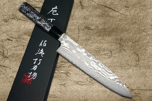 Takeshi Saji VG10 Black Damascus LC Japanese Chefs Gyuto Knife 210mm with Black-Silver Japanese Urushi Lacquered Handle