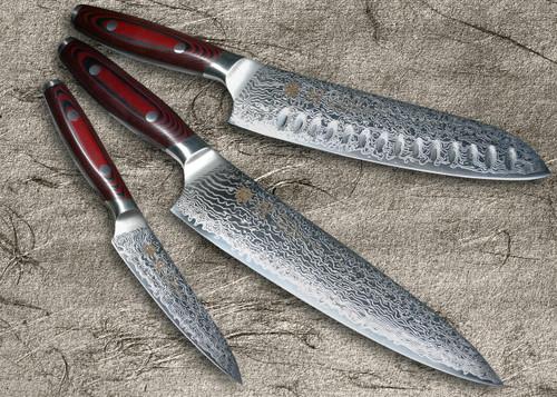 Yaxell YO-U 101-Layer SG2 Damascus Japanese Chefs Knife SET Gyuto - Dimpled Santoku - Petty