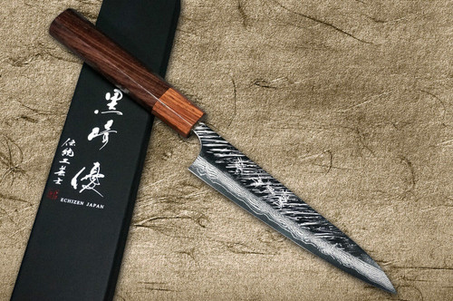 Yu Kurosaki VG10 Damascus FUJIN WA RS8H Japanese Chefs Petty KnifeUtility 150mm with Brown-Ring Octagonal Handle