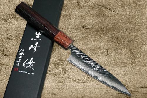 Yu Kurosaki VG10 Damascus FUJIN WA RS8H Japanese Chefs Petty KnifeUtility 120mm with Brown-Ring Octagonal Handle