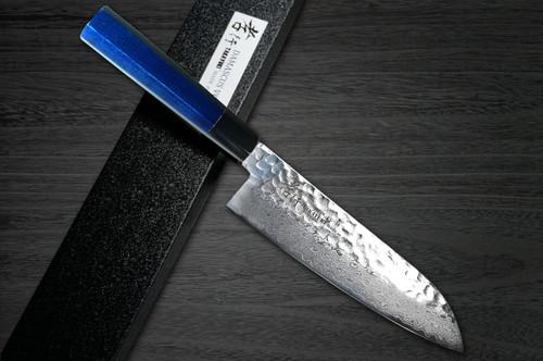 Sakai Takayuki 33-Layer VG10 Damascus Indigo Japan-Blue Chefs Santoku Knife 170mm