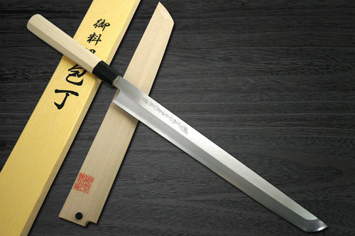 Yoshihiro Gingami No.3 G3HC Japanese Chefs Sakimaru-TakohikiSashimi 330mm with Saya Sheath and Magnolia Wood Handle