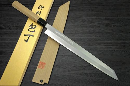 Yoshihiro Gingami No.3 G3HC Japanese Chefs Kiritsuke-YanagibaSashimi 360mm with Saya Sheath and Magnolia Wood Handle