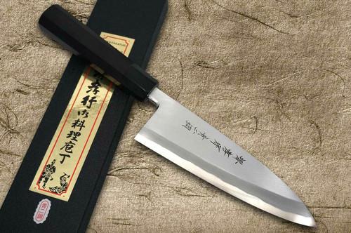 Sakai Takayuki Aoniko Blue 2 Steel Ebony Handle Japanese Chefs Deba Knife 180mm