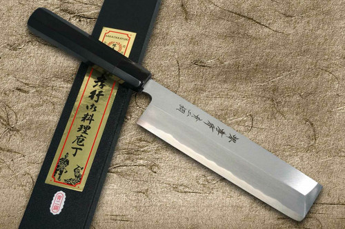 Sakai Takayuki Aoniko Blue 2 Steel Ebony Handle Japanese Chefs UsubaVegetable 210mm