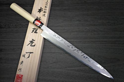 Shigeki Tanaka Aogami No.2 Damascus Japanese MB Chefs YanagibaSashimi 300mm with Magnolia Wood Handle
