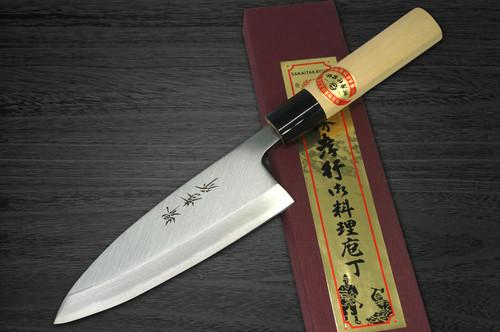 Left Handed Sakai Takayuki Kasumitogi White steel Japanese Chefs Deba Knife 90mm