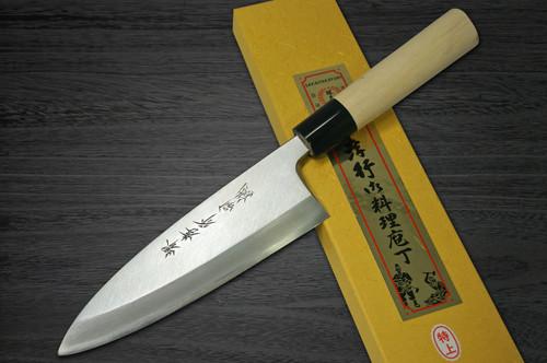 Left Handed Sakai Takayuki Tokujyo Supreme White 2 steel Japanese Chefs Deba Knife 90mm