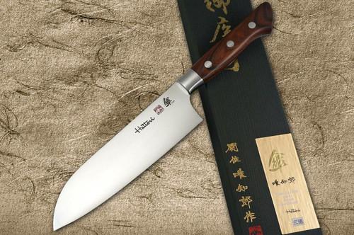 Hattori SAN-80year-anniv VG10 Japanese Chefs Santoku Knife 175mm with Desert Ironwood Handle