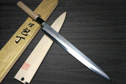 Yoshihiro Gingami No.3 Damascus Suminagashi G3SN Japanese Chefs YanagibaSashimi 300mm with Saya Sheath and Magnolia Wood Handle