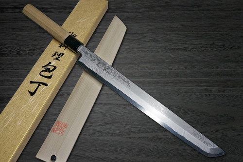 Yoshihiro Gingami No.3 Damascus Suminagashi G3SN Japanese Chefs Sakimaru-TakohikiSashimi 330mm with Saya Sheath and Magnolia Wood Handle