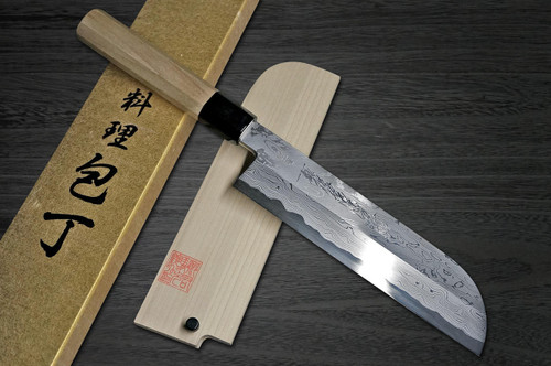 Yoshihiro Aogami No.1 Damascus Suminagashi B1SN Japanese Chefs Kamagata-UsubaVegetable 195mm with Saya Sheath and Magnolia Wood Handle