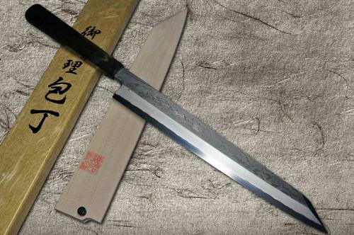 Yoshihiro Gingami No.3 Damascus Suminagashi G3SN-E Japanese Chefs Kiritsuke-YanagibaSashimi 270mm with Saya Sheath and Ebony Handle