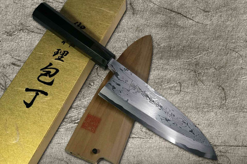 Yoshihiro Aogami No.1 Damascus Suminagashi B1SN-E Japanese Chefs Deba Knife 210mm with Saya Sheath and Ebony Handle