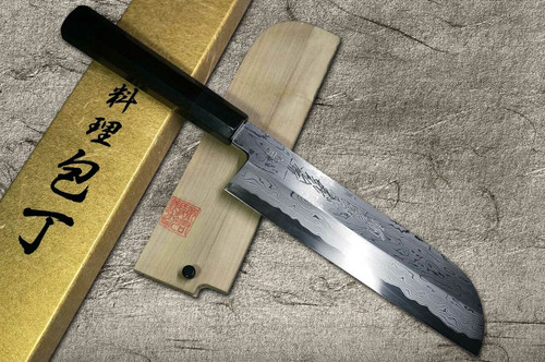 Yoshihiro Aogami No.1 Damascus Suminagashi B1SN-E Japanese Chefs Kamagata-UsubaVegetable 225mm with Saya Sheath and Ebony Handle