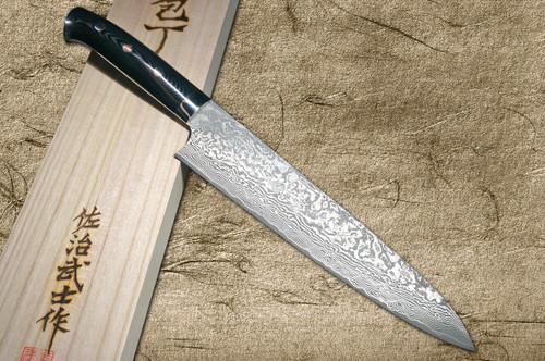 Takeshi Saji R2SG2 Black Damascus MCC Japanese Chefs Gyuto Knife 210mm with Striped Black Micarta Handle