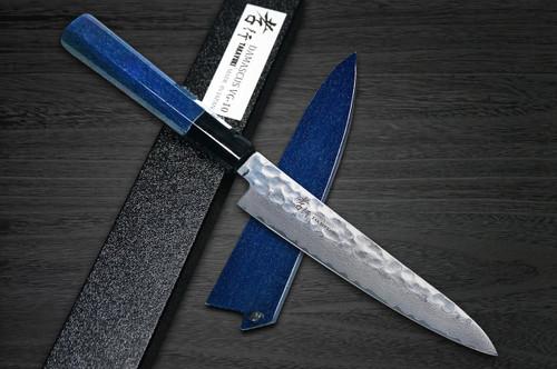 Sakai Takayuki 33-Layer VG10 Damascus Indigo Japan-Blue Chefs Petty KnifeUtility and Saya SET 150mm