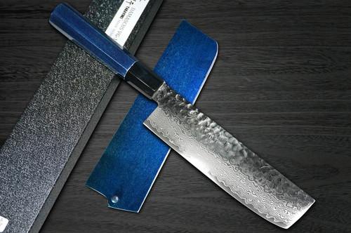 Sakai Takayuki 33-Layer VG10 Damascus Indigo Japan-Blue Chefs Vegetable Knife and Saya SET 160mm