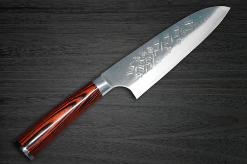 Takeshi Saji SRS13 Mirror Hammered PWR Japanese Chefs Santoku Knife 180mm with Red Pakka Wood Handle