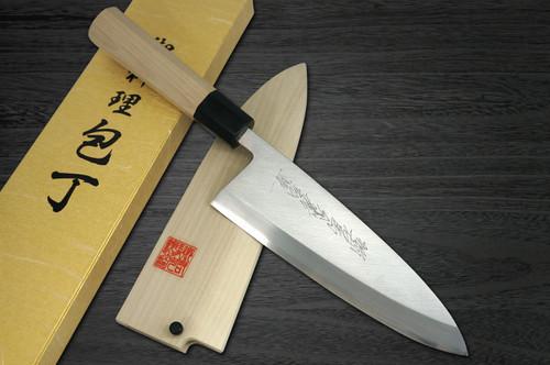 Yoshihiro Gingami No.3 G3HC Japanese Chefs Deba Knife 165mm with Saya Sheath and Magnolia Wood Handle