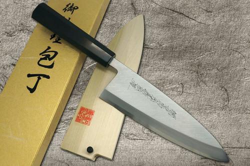 Yoshihiro Gingami No.3 G3HC-E Japanese Chefs Deba Knife 180mm with Saya Sheath and Ebony Handle