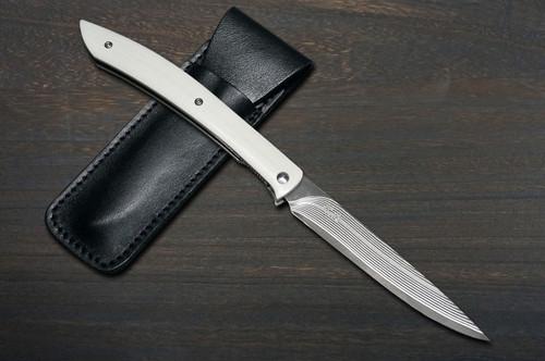 Takeshi Saji Folding R2SG2 Black Damascus Steak Knife 100mm with White Micarta Handle