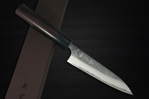 Yoshimi Kato Aogami Super Clad Nashiji RS Japanese Chefs Petty KnifeUtility 120mm with Black-Ring Round Handle
