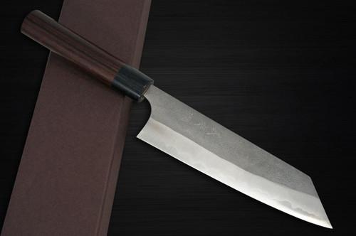 Yoshimi Kato Aogami Super Clad Nashiji RS Japanese Chefs Bunka Knife 170mm with Black-Ring Round Handle