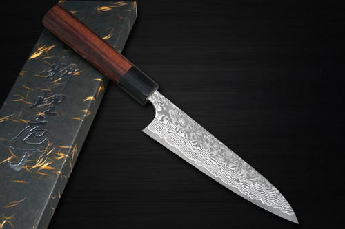 Yoshimi Kato 63 Layer VG10 Black Damascus RS8 Japanese Chefs Petty KnifeUtility 120mm with Black-Ring Octagonal Handle