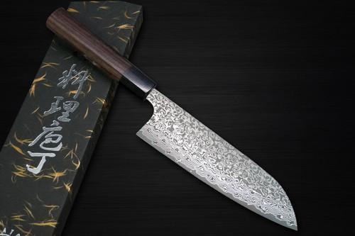 Yoshimi Kato 63 Layer VG10 Black Damascus RS8 Japanese Chefs Santoku Knife 170mm with Black-Ring Octagonal Handle