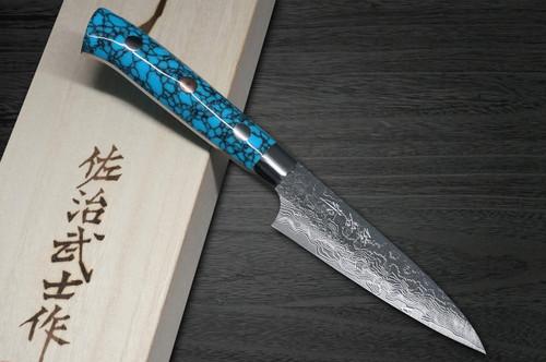 Takeshi Saji R2 Diamond Finish Damascus TCA Japanese Chefs Petty KnifeUtility 90mm with Blue Turquoise Handle