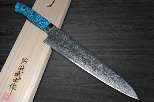 Takeshi Saji R2 Diamond Finish Damascus TCA Japanese Chefs Gyuto Knife 270mm with Blue Turquoise Handle