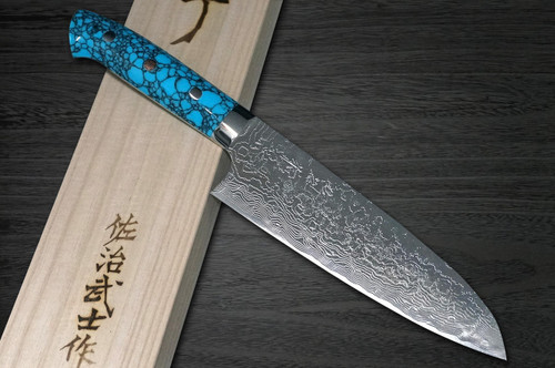 Takeshi Saji R2 Diamond Finish Damascus TCA Japanese Chefs Santoku Knife 180mm with Blue Turquoise Handle