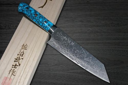 Takeshi Saji R2 Diamond Finish Damascus TCA Japanese Chefs Bunka Knife 180mm with Blue Turquoise Handle