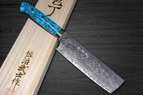 Takeshi Saji R2 Diamond Finish Damascus TCA Japanese Chefs NakiriVegetable 170mm with Blue Turquoise Handle