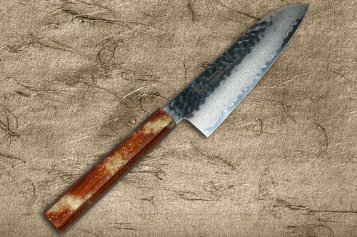 Sakai Takayuki 33-Layer VG10 Damascus Urushi Chefs Santoku Knife 170mm with Japanese Lacquered Oak Handle SEIREN