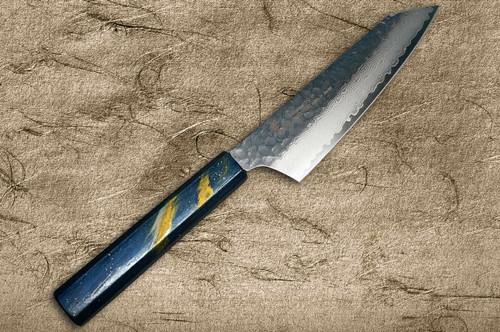 Sakai Takayuki 33-Layer VG10 Damascus Urushi Chefs Kengata-Santoku Knife 160mm with Japanese Lacquered Oak Handle SAISEKI